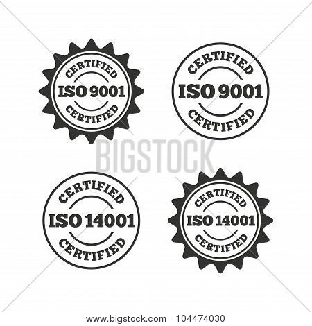 ISO 9001 and 14001 certified icon. Certification