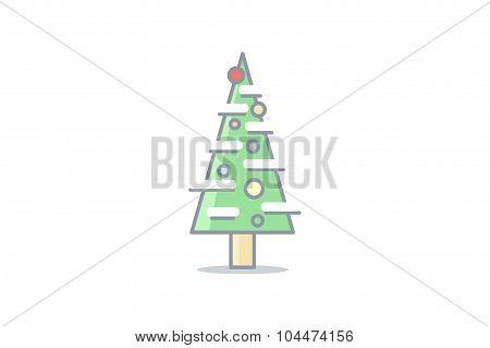Christmas line tree. Stock vector.