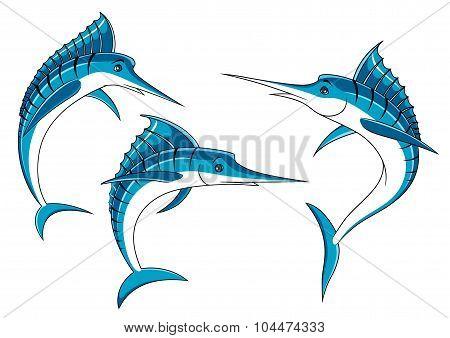 Jumping blue marlin fish characters