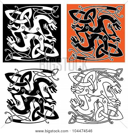 Intricate mystical dragon animals celtic ornament in different color variations. For art or tattoo themes design poster