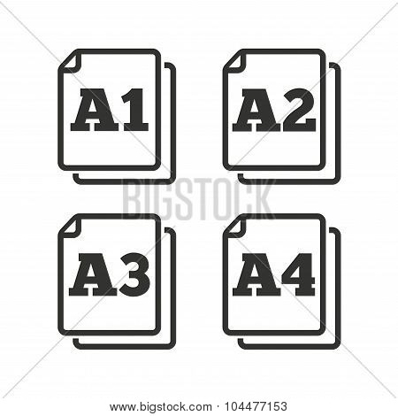 Paper size standard icons. Document symbols. A1, A2, A3 and A4 page signs. Flat icons on white. Vector poster