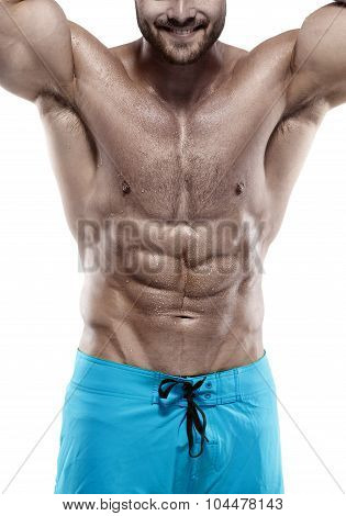 Strong Athletic Man Fitness Model Torso Showing Abdominal Muscles Without Fat