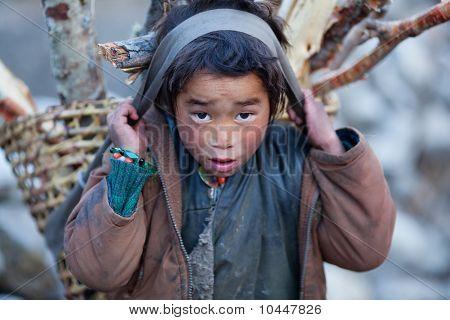 Tibetan boy with basket