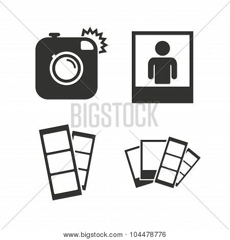 Hipster photo camera icon. Flash light symbol. Photo booth strips sign. Human portrait photo frame. Flat icons on white. Vector poster