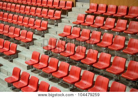 Side View Red Stadium Seats