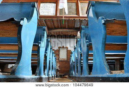 Blue Benches In An Unitarian Church