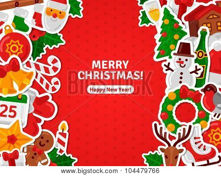 Merry Christmas Banner Flat Christmas Icons Stickers.