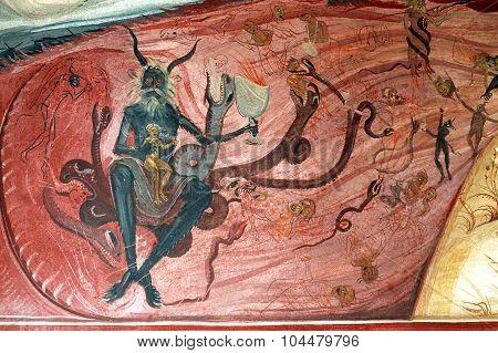 The Purgatory On A Mural. Tismana, Romania