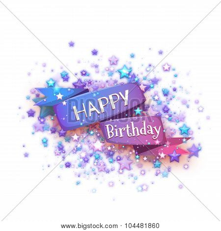 Blue ribbon with Happy birthday title. Vector illustration