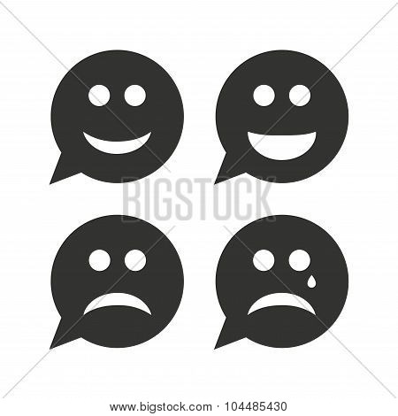 Speech bubble smile face icons. Happy, sad, cry.