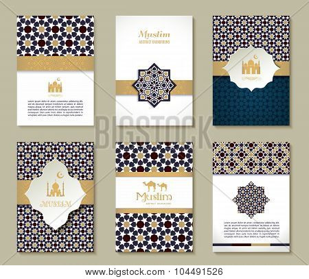 Banners Set Of Ethnic Design. Religion Abstract Set Of Layout.