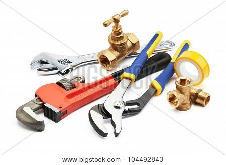 various type of plumbing tools against white background poster