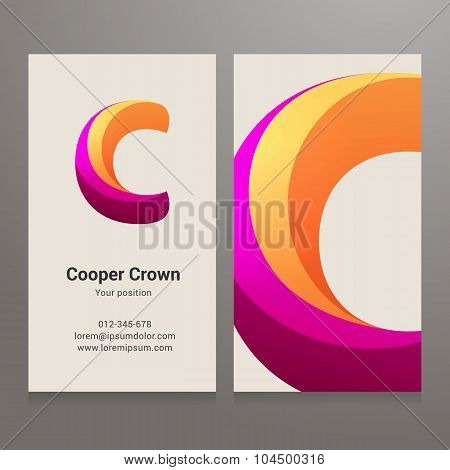 Modern Letter C Twisted Business Card Template