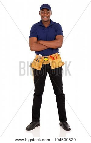 handsome afro american repairman with arms crossed