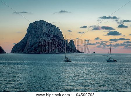 Picturesque Sunset Over Mysterious Island Of Es Vedra. Ibiza, Balearic Islands. Spain