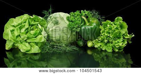Set Of Green Vege-cabbage,lettuce,bell Pepper,dill On Black Isolated