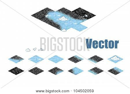 Pixel art sprite tiles for game background.