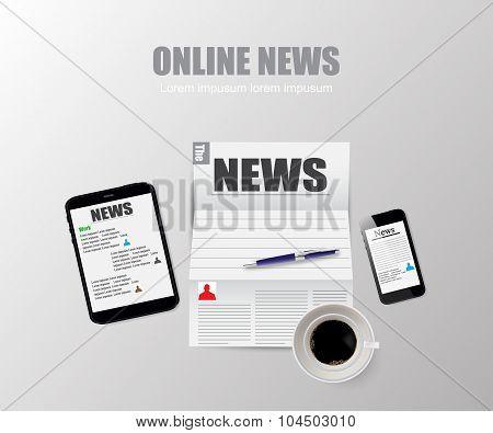 Online News Technology Vector Illustration
