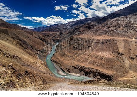 Zanskar River Flowing Through Rocks Of Ladakh, Jammu And Kashmir,  India,