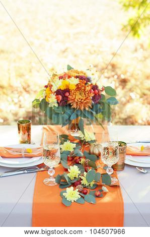 Exquisitely Decorated Table For Two. Autumn Themed Table Setting.
