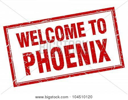 Phoenix red square grunge welcome isolated stamp poster