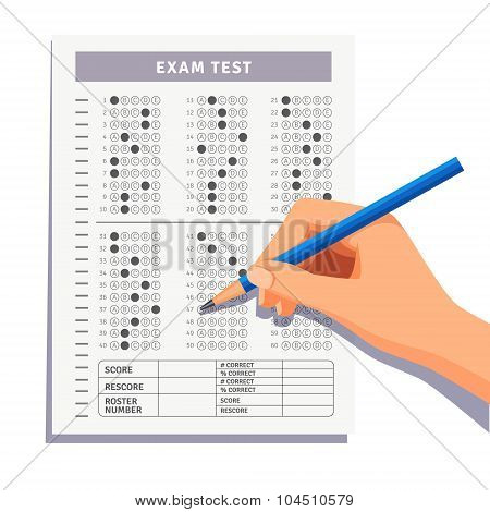 Student filling out answers to exam test