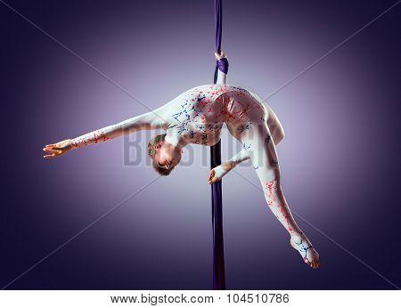 Beautiful Dancer On Aerial Silk, Aerial Contortion, Aerial Ribbons, Aerial Silks, Aerial Tissues, Fa