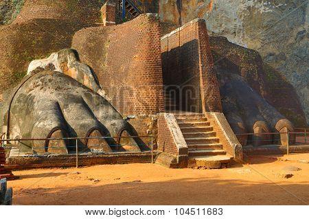 fragment of Sigiriya Lion Rock Fortress in Sri Lanka