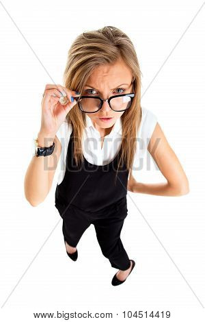 Suspicious Upset Angry And Funny Secretary Taking Off Her Glasses, Standing Isolated On White Backgr