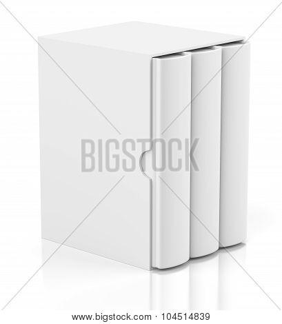 Three Books In Cardboard Box Cover On White