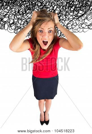 Stress. Business woman frustrated and stressed pulling her hair. Funny image of young Caucasian businesswoman poster