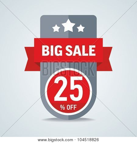 Big sale of 25 percent of the label with a red ribbon. Vector illustration.