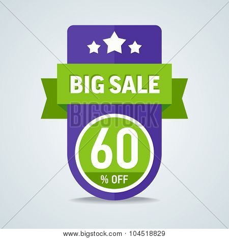 Big sale of 60 percent of the label with a green ribbon. Vector illustration.