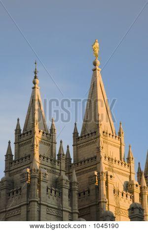 Salt Lake Temple Main Spire At Dusk