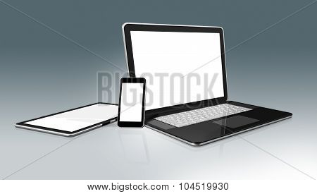 High Tech Computer Set. Laptop, Mobile Phone And Digital Tablet Pc