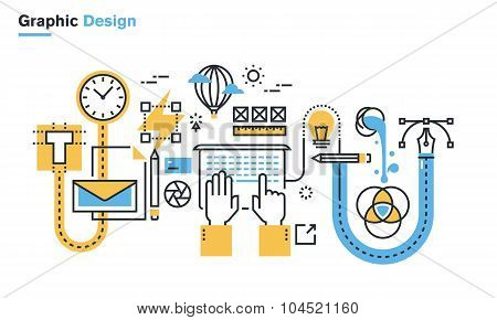 Flat line illustration of graphic design process
