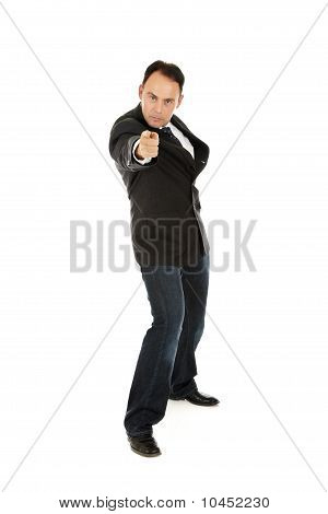 Middle Aged Businessman Pointing