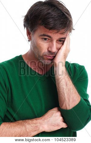 Man having stress and headache migraine. Health care concept. poster