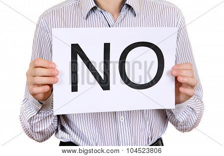 Person Hold Slogan No