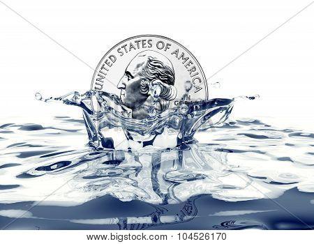 Quarter Dollar Coin Splashing Into Water