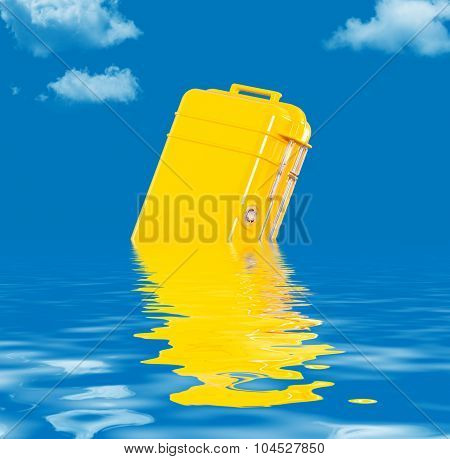 Water resistant case floating in the water
