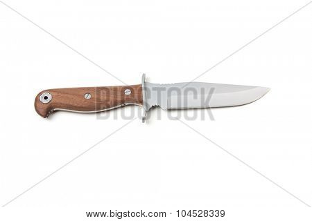 hunting knife with wooden handle, isolated on white background