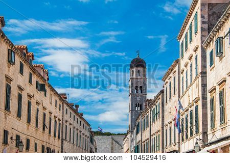 Facades of buildings on Stradun street in Dubrovnik, Croatia