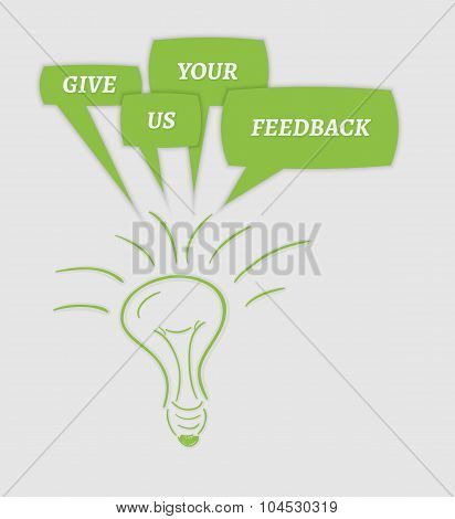 Give Us Your Feedback Speech Bubbles And Bulb