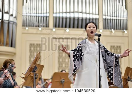 ST. PETERSBURG, RUSSIA - OCTOBER 6, 2015: Star Sopranos of China on the rehearsal with the Andreyev State Russian Orchestra in the Philharmonic Hall. The event is part of the Festival of Chinese music