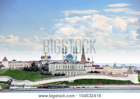 Kazan Republic of Tatarstan Russia. View of the Kazan Kremlin with: Presidential Palace Soyembika Tower Annunciation Cathedral Qolsharif Mosque from the Kazanka River. poster