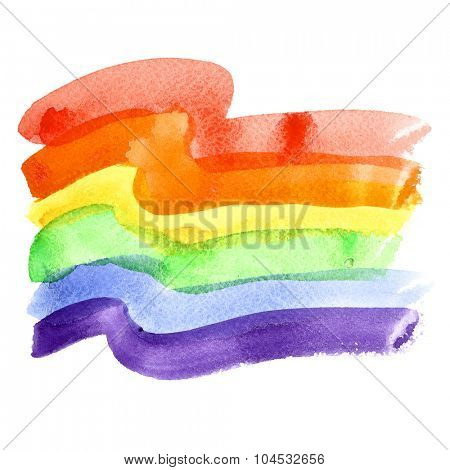 Watercolor rainbow Gay Pride Flag isolated over the white background