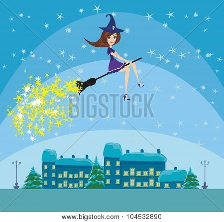 Witch Flying Over The City