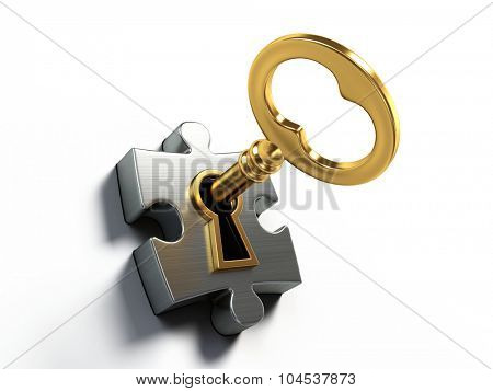 Golden key and puzzle isolated on white