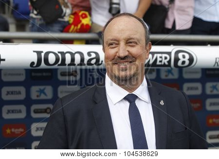 BARCELONA - SEPT, 12: Rafael Benitez manager of Real Madrid during a Spanish League match against RCD Espanyol at the Power8 stadium on September 12 2015 in Barcelona Spain
